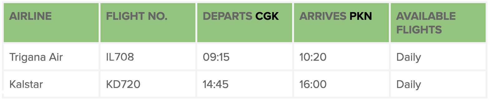 Jakarta flight details